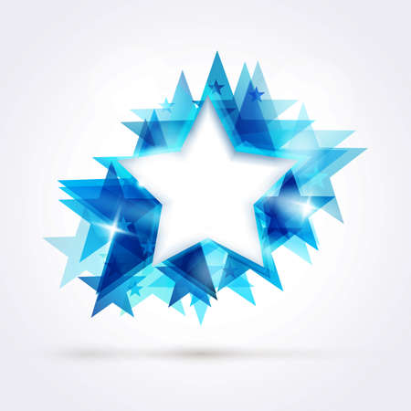 Abstract star background. Overlying star shapes in blue shades with space for your text.