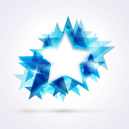 estrellas: Fondo de la estrella abstracto. Que recubre forma de estrella en tonos azules con un espacio para el texto. Vectores