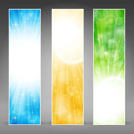 web header: Bandera conjunto de vectores en verde, azul y oro para las ocasiones festivas, con copia espacio.