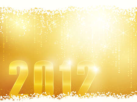Festive golden sparkling new years background with snow, shiny stars and the number 2012 Vector