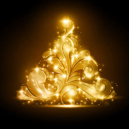 Golden Christmas tree made of swirls on a warm dark brown background. Light effects give it a blurry glow and add sparkles. A perfect element in any the Christmas season theme. Vector