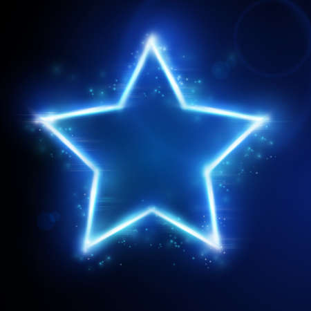 neon lights: Blue star frame on dark background with space for your text. Light effects give it a glow and sparkle.