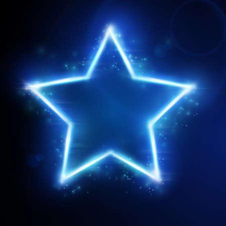 neon party: Stella cornice blu su sfondo scuro con spazio per il testo. Gli effetti luminosi dare un bagliore e scintillio.