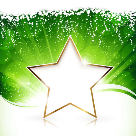 Green light burst background with golden Merry Christmas and a happy New Year star.  Illustration