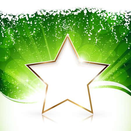 raggi di luce: Verde scoppio sfondo chiaro dorato Buon Natale e una stella felice Anno Nuovo.