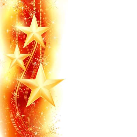 Border, frame met gouden sterren opknoping over een rode, gouden golvend patroon versierd met sterren en sneeuwvlokken. Heldere, levendige en feestelijke voor het seizoen te komen met ruimte voor uw bericht. Stock Illustratie