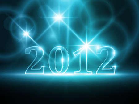 effets lumiere: Semi-transparente num�ro 2012 sur fond abstrait bleu fonc�. Les effets de lumi�re lui donne une lueur douce. Illustration