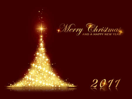 Merry Christmas and a Happy New Year card with shining Christmas tree made out of stars. Perfect for any christmas, New Years theme with space for your message.  Vector