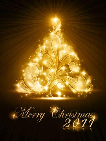 radiating: Calorosamente albero di Natale scintillante scuro su sfondo marrone. Effetti di luce che danno una luce radiante. Un elemento perfetto in ogni tema del Natale.
