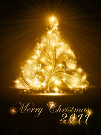Warmly sparkling Christmas tree on dark brown background. Light effects give it a radiating glow. A perfect element in any the Christmas theme. Stock Vector - 11472369