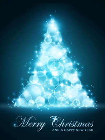 Blue glowing light dots forming a shining and sparkling Christmas tree. Christmas and New Years card.  Vector