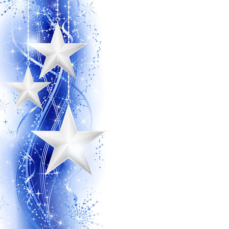 christmas stars: Border, frame with silver stars hanging over a blue silver wavy pattern embellished with stars and snow flakes. Bright, vivid and festive for the season to come with space for your message. Illustration