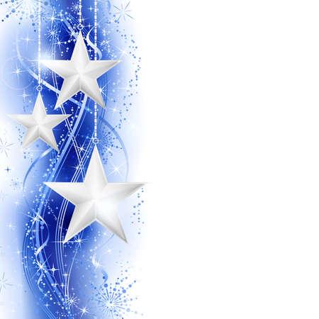 estrellas de navidad: Frontera, marco con estrellas de plata colgando sobre un patr�n ondulado plata azul adornada con estrellas y copos de nieve. Brillante, vivo y festivo para la temporada que viene con el espacio para su mensaje.