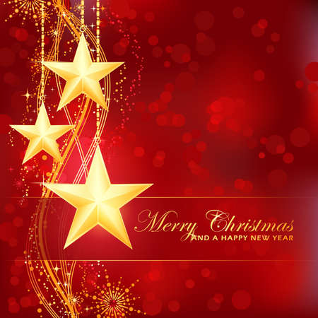 Merry Christmas background with stars, snow flakes and wavy pattern and light dots for your festive occasions Vector