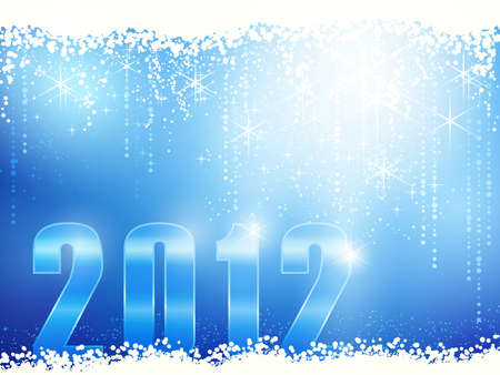 Festive blue sparkling new years background with snow, shiny stars and the number 2012. Vector