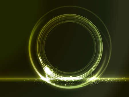 effetti di luce: Verde cornice incandescente su sfondo scuro dove si pu� mettere il vostro messaggio. Effetti di luce che danno una sensazione al neon. Vettoriali