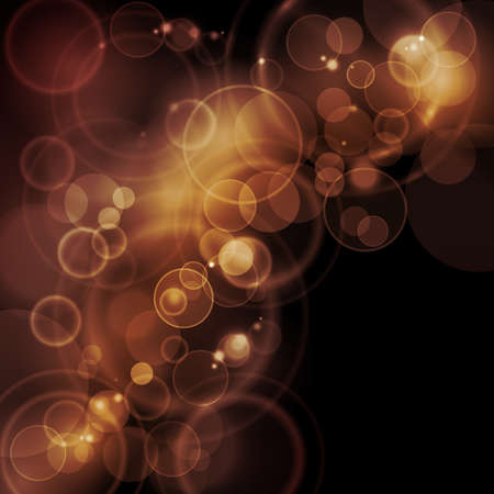 blur: Blurry lights in sepia tone desaturated colors on dark background with space for your text.  Illustration