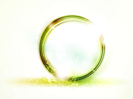 Overlying semitransparent round frames in shades of soft yellow, green and reddish shapes with light effects forming an abstract round placeholder with space for your text. Stock Vector - 12437103