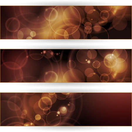 blurry lights: Vector header, banner set. Overlying semitransparent circular shapes forming a bokeh background with space for your text. Can be used on websites or flyers. Illustration