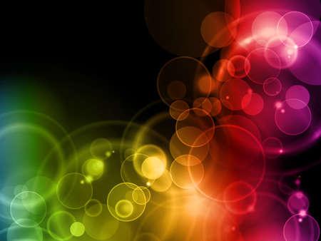 Las luces borrosas en colores del arco iris sobre un fondo oscuro con espacio para el texto. Ilustración de vector