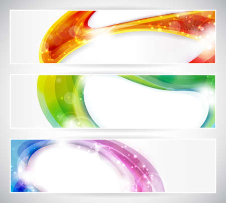 futuristic effect: Set of abstract colorful web headers made of overlying abstract shapes with light effects.