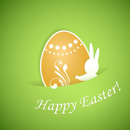 Green beige Happy Easter card with egg and bunny from paper. Vector