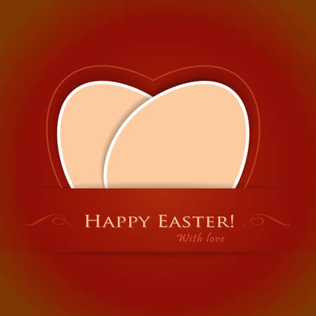Happy Easter, with love  Two overlying paper Easter eggs forming a stylized heart Stock Vector - 12437099