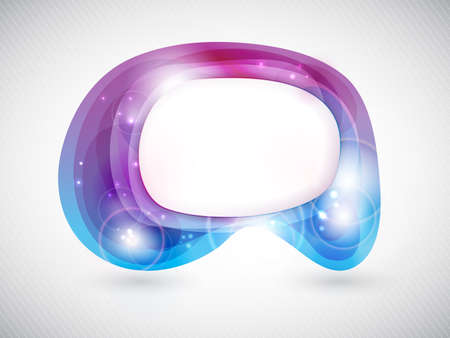 Speech bubble with light effects. Semitransparent overlying shapes forming an abstract bubble in shades of blue and purple. Space for your text. EPS 10 Vector