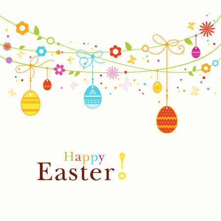happy easter: Hanging Easter eggs, flowers, butterflies and colorful dot forming a happy, colorful border with space for your text. Great for the coming Easter celebration Illustration