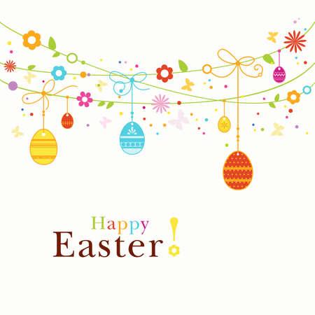 buona pasqua: Hanging uova di Pasqua, fiori, farfalle e punti colorati formano un felice, bordo colorato, con spazio per il testo. Ottimo per l'imminente celebrazione di Pasqua