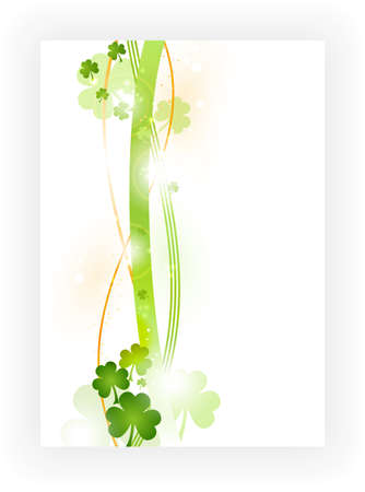 Border with wavy stripes in green and orange with green shamrocks and light effects. Great for the coming St. Patricks day or any other Irish connected theme. Vector