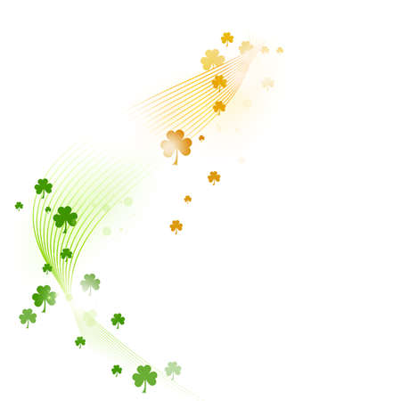 Wavy stripes with a gradient from green over white to orange forming a border adorned with various shamrocks. Great for the coming St. Patricks day or any other Irish connected theme.  Vector
