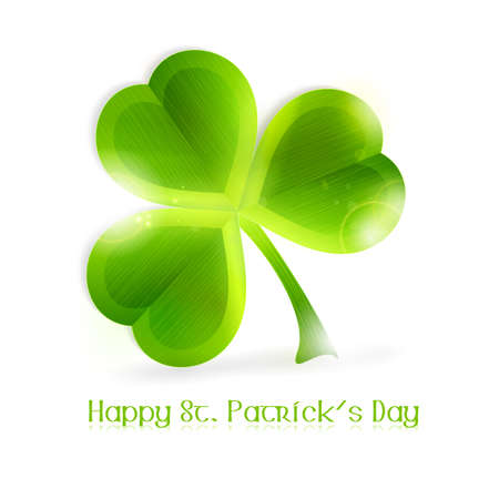 leafed: Three leafed shamrock isolated on white, vector illustration. Great for any Irish connected themes as the upcoming St. Patricks day.  Illustration