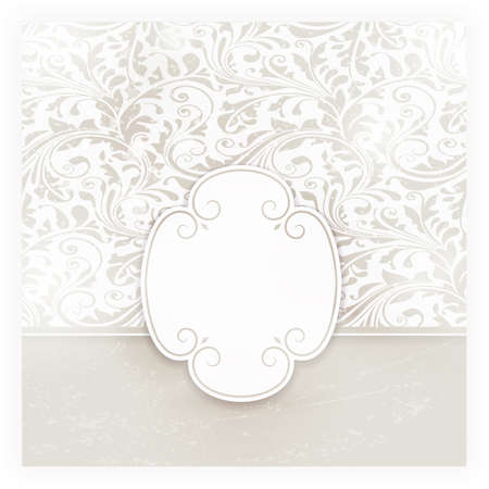 Invitation, anniversary card with label for your personalized text in shades of subtle off-whites and beige with a delicate seamless floral pattern in the background and grunge elements. EPS10 Vector