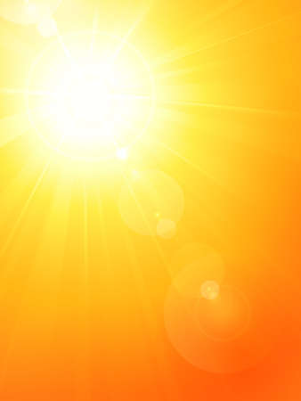 Summer background with a magnificent summer sun burst with lens flare. Space for your text. EPS10 Vector