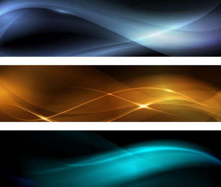 effetti di luce: Banner orizzontale impostato. Motivi ondulati su sfondo scuro con effetti di luce. EPS10 Vettoriali