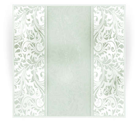 pale: Invitation, anniversary card with space for your personalized text in shades of subtle off-whites and pale greens with a delicate floral pattern in the background and grunge elements. EPS10