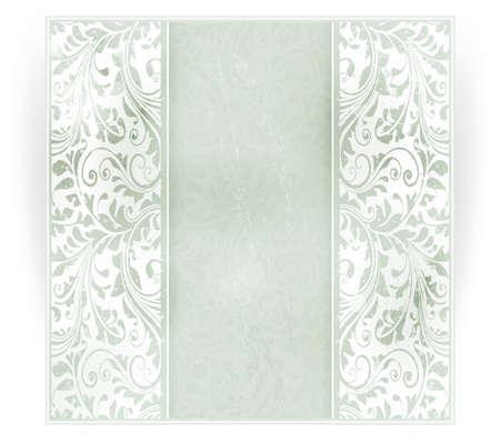Invitation, carte d'anniversaire avec un espace pour votre texte personnalisé dans des tons subtils de hors-blancs et verts pâles avec un motif floral délicat dans le fond et les éléments grunges. EPS10