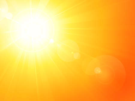Summer background with a magnificent summer sun burst with lens flare. Space for your text. Vector