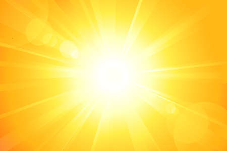 explosie: Zomer achtergrond met een prachtige Sun Burst met lens flare. Geen transparanten, eps8 bestand. Artwork gegroepeerd en gelaagd.