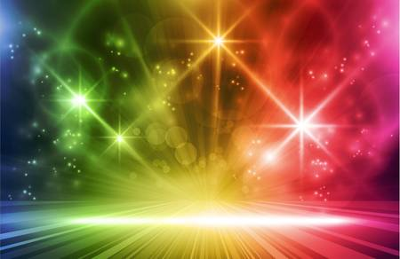 Colorful light show. Multicolored light effects background for any magical event full of energy. Space for you message.  Vector