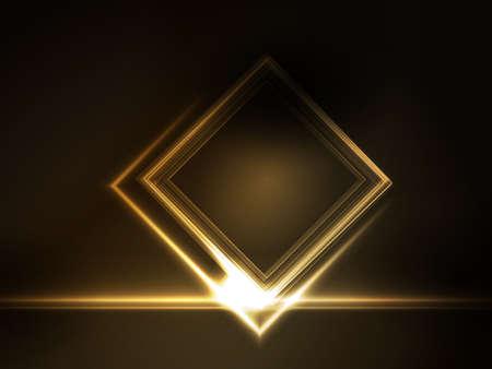 effetti di luce: D'oro effetti luminosi sulla piazza segnaposto per il testo scuro su sfondo marrone. Spazio per il vostro messaggio.