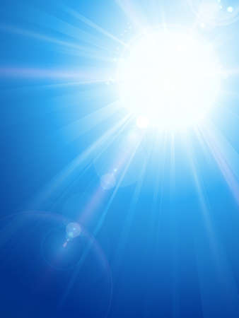 sun burst: Sky background with a magnificent sun burst with lens flare. Space for your text.