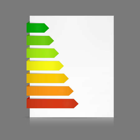 according: 7 Colorful paper stripes of various lengths folded around a white sheet from dark green to red as e.g. in energy consumption levels or anything else according to your text. Transparent shadows so color can be changed easily.