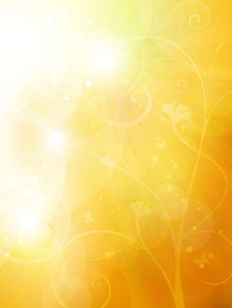 Blurry background in shades of warm golden orange and brown shades with overlying semitransparent circles, light effects and sun burst. Great as summer or autumn background. Space for your text. Vector