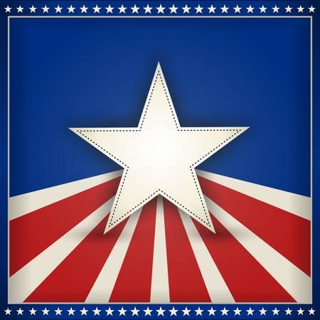 네번째: 미국 애국 테마 배경을 형성하는 블루 50 작은 별의 외부 프레임 빨간색과 베이지 색 줄무늬가있는 파란색 배경에 센터 별. 텍스트를위한 공간입니다.