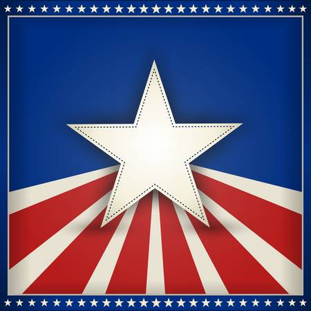 parade: Center star on blue background with red and beige stripes with outer frame of 50 little stars on blue forming an USA patriotic themed background. Space for your text. Illustration