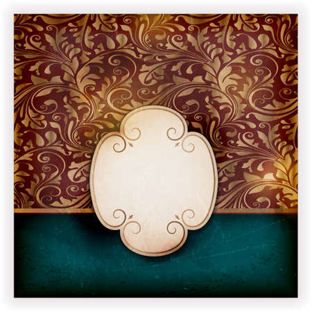 Invitation, anniversary card with label for your personalized text on dark blue and red background with a delicate golden seamless floral pattern and grunge elements for an aged feeling. Stock Vector - 14026666