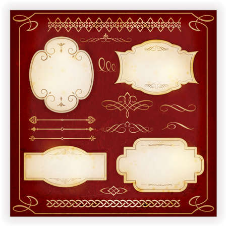Set of 4 aged labels with embellishment and various ornate dividers, borders, frames and calligraphic elements. Perfect to embellish your designs, invitations, or announcements, etc. Vector