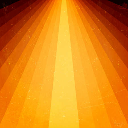 Light burst in warm color shades of saturated yellows, oranges and browns with grunge elements giving it a feeling of aged textured paper. Stock Vector - 14506982